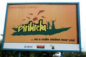 Billboard advertizing the radio show Biribireba
