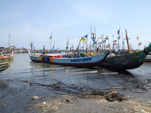 Typical artisanal fishing boats in Tema, Ghana.  (CREDIT: Carol McCarthy/CRC)