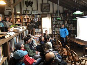 Teresa Crean presents to a group at the Monhegan Island Library.