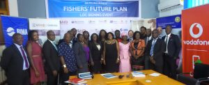 Group photograph of all partners of Fishers Micro-Insurance Scheme, after LOC Signing Event