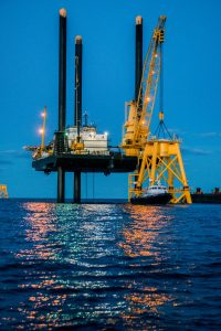 Wind turbine jackets, lift (photo credit: Deepwater Wind)