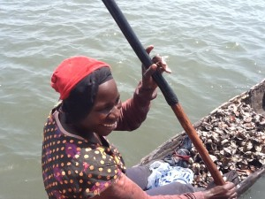 An oyster harvester in The Gambia (TRY Oyster Women's Association)
