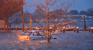 Car stranded in flood waters