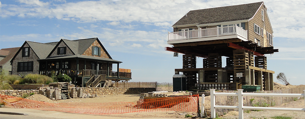 Beachfront home being raised on to piers