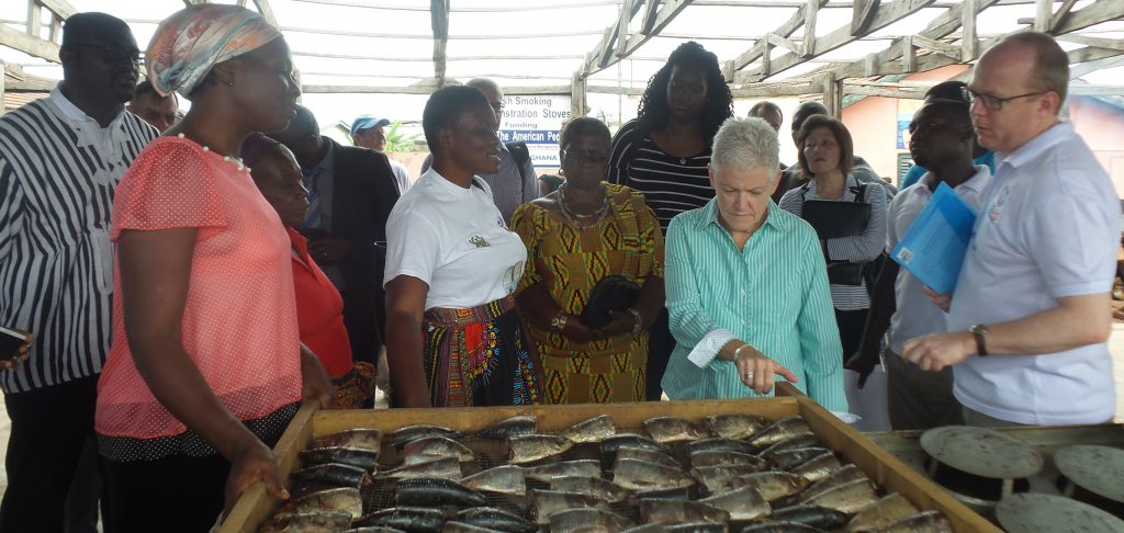 Administrator Gina McCarthy observing the Ahotor fish demonstration stove