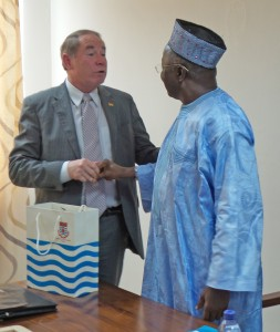 Professor D.D. Kuupole, vice-chancellor of the Univresity of Cape Coast in Ghana welcomes President Dooley Friday, April, 15, 2016. (credit: Patricia Mensah, SFMP/CRC)