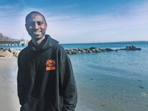 Evans Arizi, Ph.D. student from Ghana shown at GSO in March. (Credit: Allison Farrelly)
