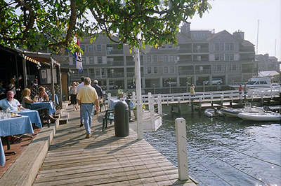 A public walkway along the waterfront in Newport Harbor. (credit: RI Sea Grant)